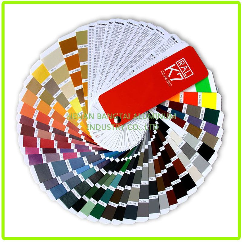color chart of coated aluminum coil
